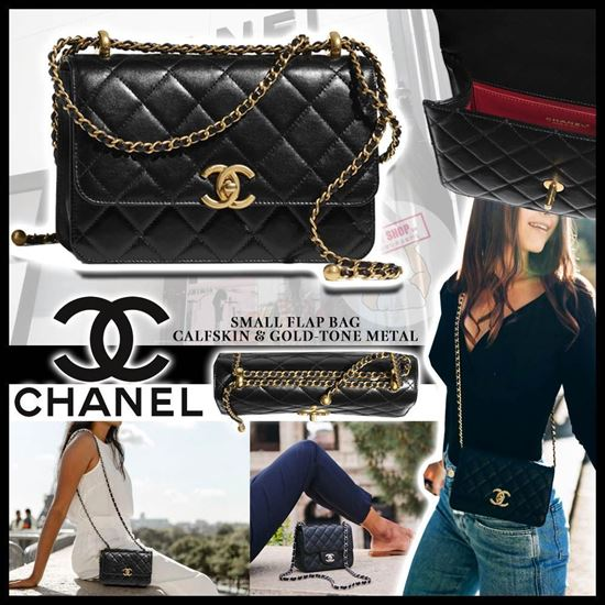 圖片 **貨品已截單**A P4U 6底: Chanel Small Flap Bag Calfskin & Gold - Tone Metal (按金)
